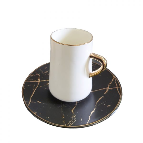 La Otantik 6 White Coffee Cup & Saucers Black