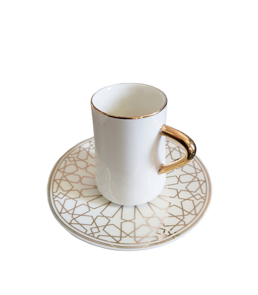 La Otantik 6 White Coffee Cup & Saucers White