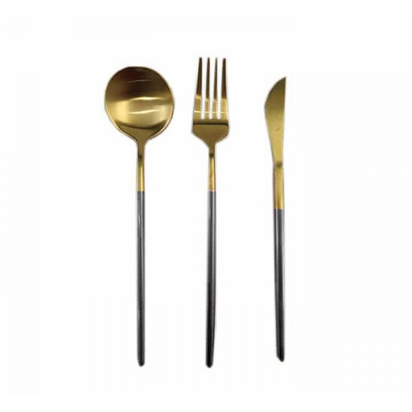 Cutlery Set Gold And Black 3pc