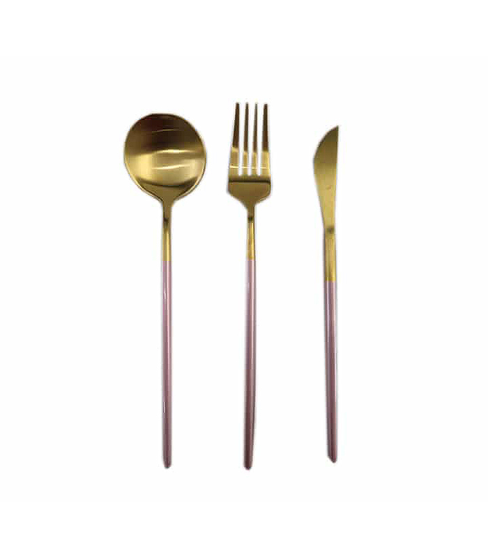 CUTLERY SET GOLD AND PINK 3PC