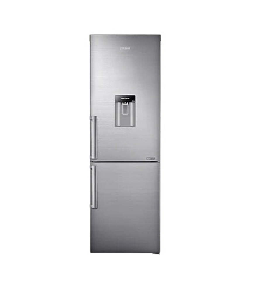 SAMSUNG 308L Net Top Fridge Bottom Freezer Combination Fridge With Water Dispenser - Inox Stainless Steel