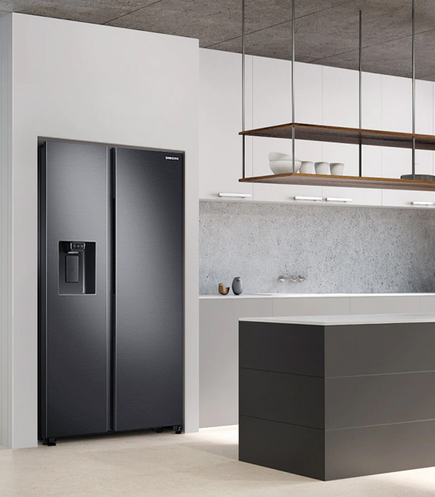 SAMSUNG 617L Net 2 Door Frost Free Side by Side Fridge with Non-Plumbed Water & Ice Dispenser – Gentle Black