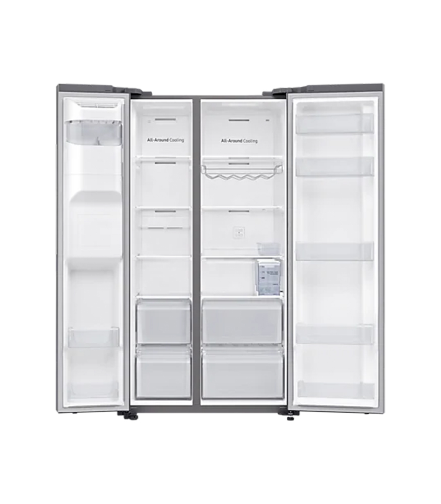 SAMSUNG 617L Net 2 Door Frost Free Side by Side Fridge with Non-Plumbed Water & Ice Dispenser - Matt Silver