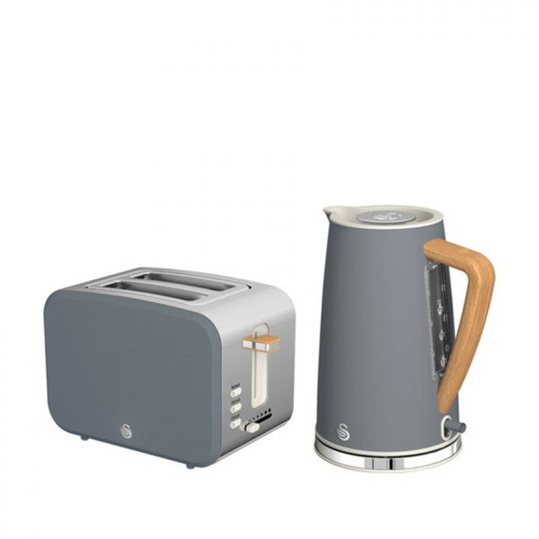 Nordic Polished Stainless Steel Cordless Kettle & 2 Slice Toaster - Grey