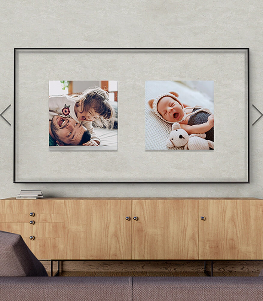 Ambient Mode When you project your favorite photos onto the TV screen, the TV itself blends into your décor elegantly. You can lay out multiple photos in a beautiful collage or place them in a slide show for to keep the visual fresh and on point.