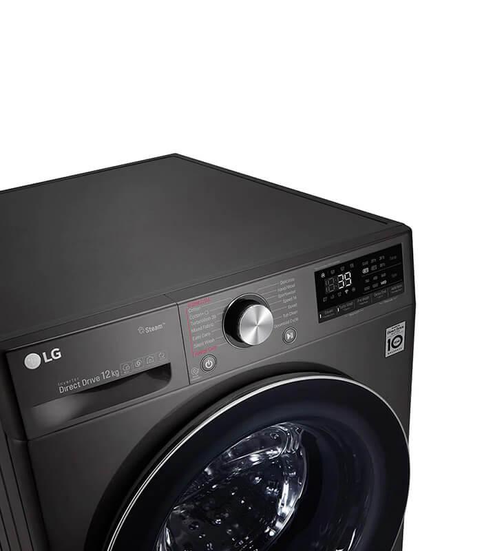LG-12kg Black Steel Front Loader Washing Machine-F4V9BWP2E