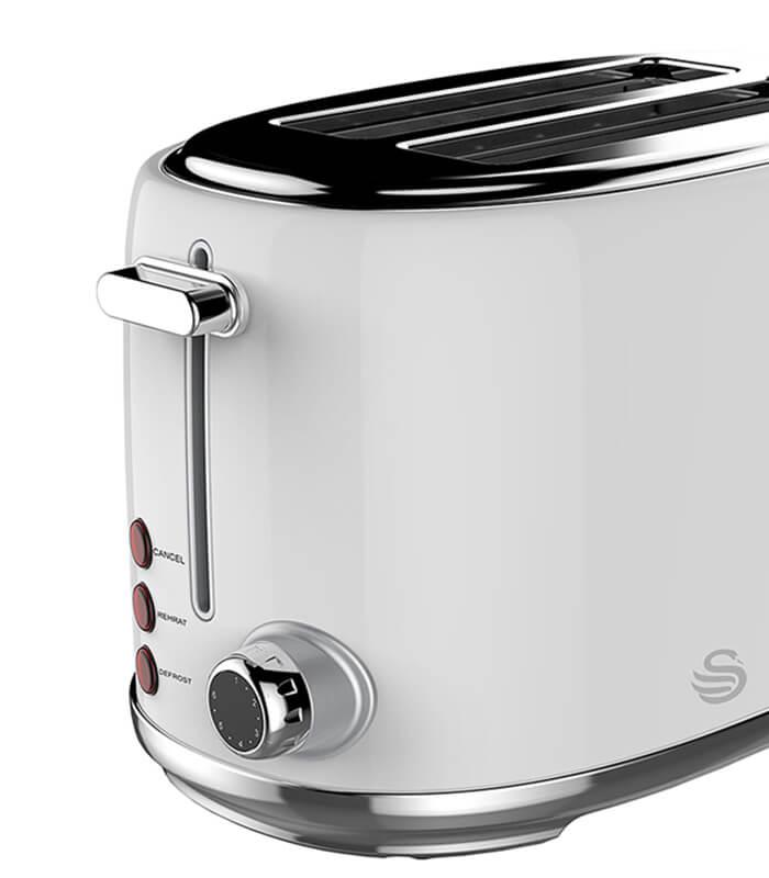 Swan Pearl White 1,7 Litre cordless Kettle & 2 Slice Toaster - STP01C