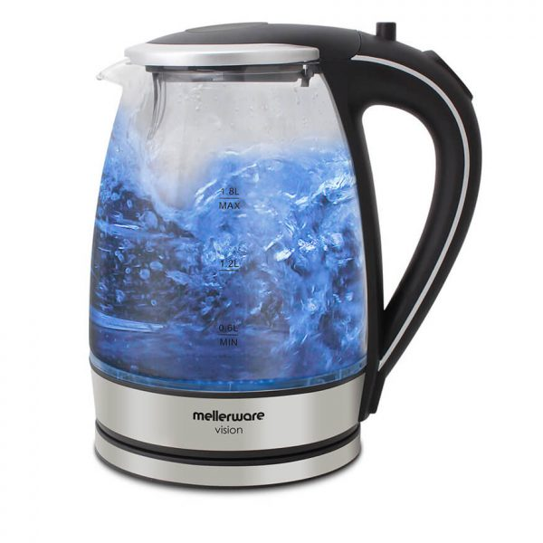 mellerware - Glass kettle 360 degree crdless silver 1.8l 2200w