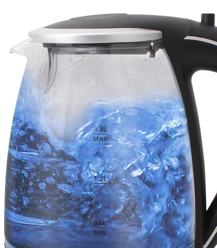mellerware - Glass kettle 360 degree crdless silver 1.8l 2200w