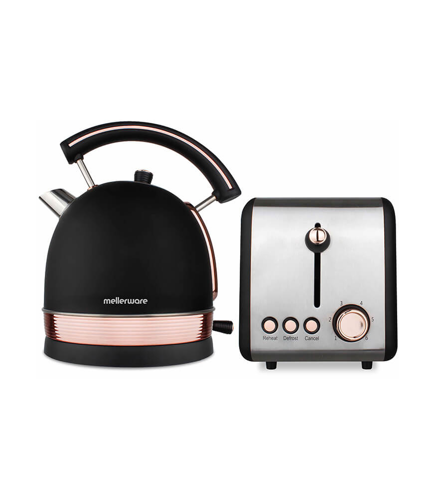 mellerware - pack 2 piece set stainless steel black kettle and toaster - rose gold
