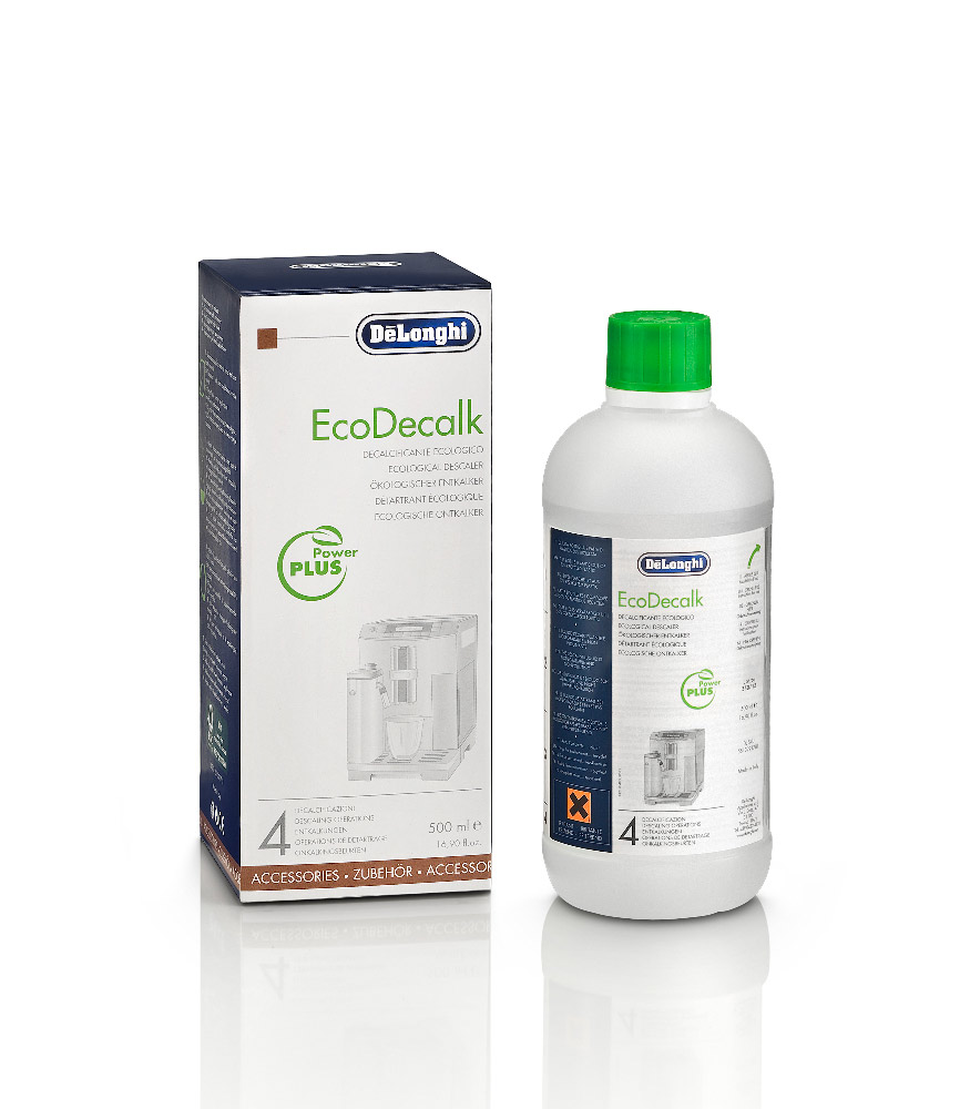EcoDecalk uses only natural, high-quality raw materials of plant origin (such as lactic acid) that won't pollute the environment. The packaging is made out of recycled materials: the bottle is made of 50% recycled plastic and the paper used is FSC certified. The 500ml pack allows to perform 4 descaling operations. Laboratory tests show that it is up more effective and fast at dissolving lime scale deposits compared to traditional descalers, meaning it is perfect for restoring your coffee machine's hygienic conditions.